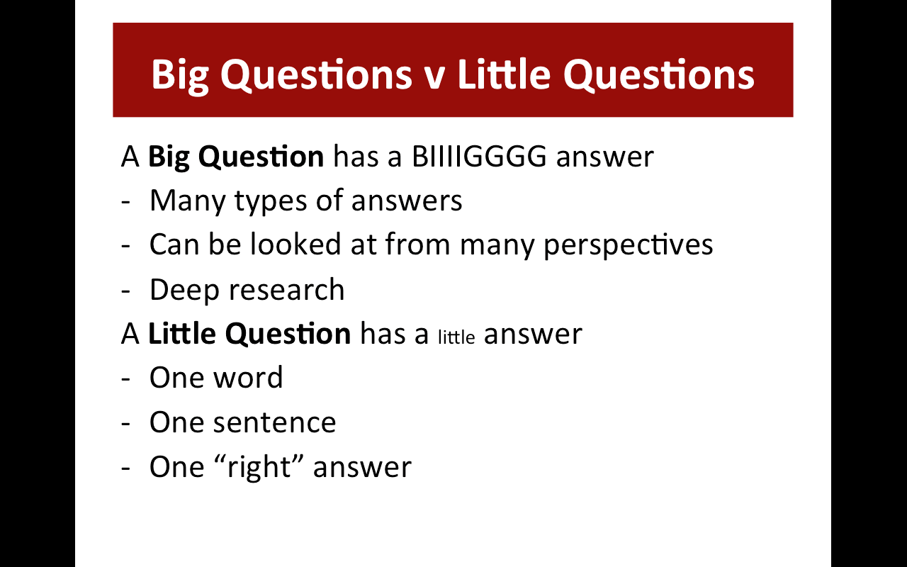 big questions essay series I would always include a personal response to questions like the following: what  about the essay most connects with your experience moves you provokes.